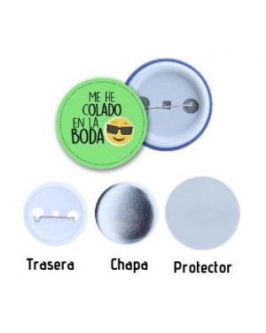 Chapas con alfiler de 37mm - pack 50 uds.